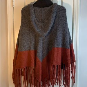 H&M Sweaters - Two Toned Hooded Fringed Poncho